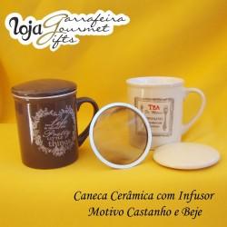 Caneca Cerâmica c/ Infusor Creme/Castanha