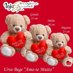 Peluche Beje 'Amo-te Muito' 35 cm